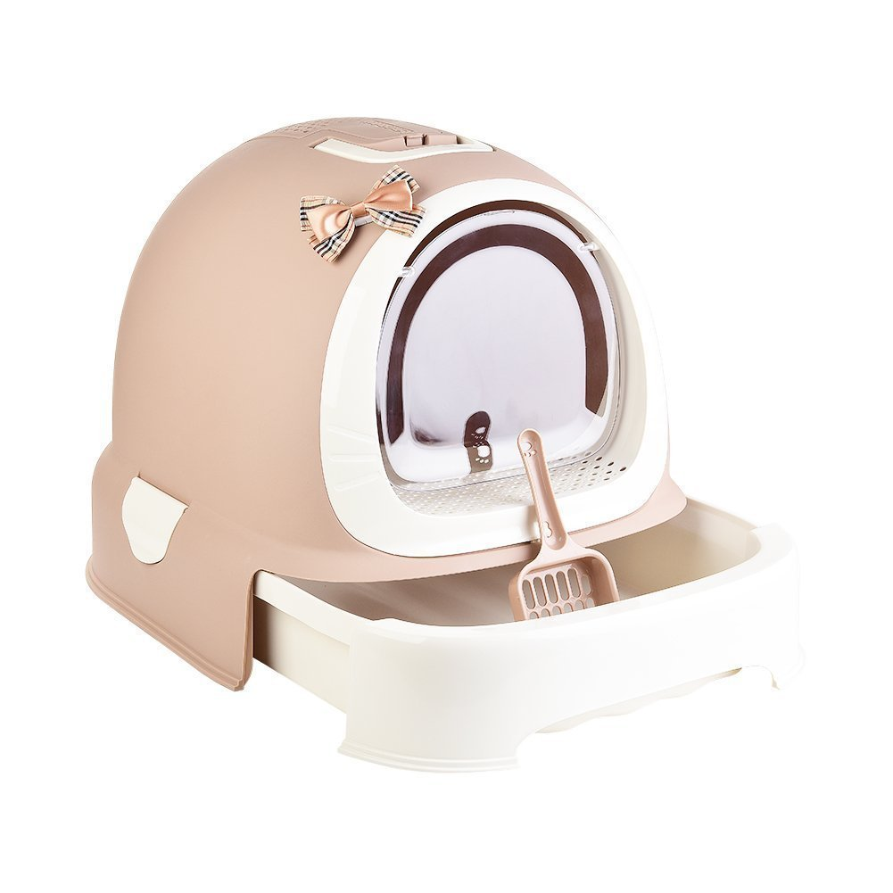 Cat Litter Box with Lid, Hooded Kittie Cat Litter Toilet, Trendy Covered Cat Litter Pan, with Litter Scoop by Pxyz