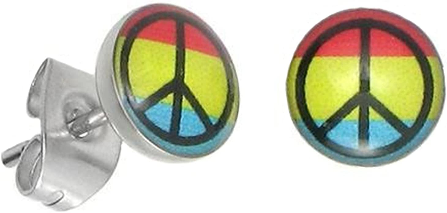 Stainless steel peace and love earrings for her