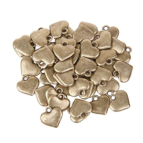 Heart Charm Findings (Pack of 50 Antique Bronze Heart Pendant Pattern Charms DIY Jewelry)