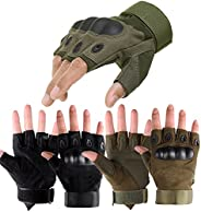 Exercise Gloves,2Pair Combat Gloves Military Hard Knuckle Fingerless for Riding,Tactica,Driving,Shooting Hunti