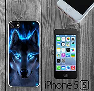 The Blue Wolf Custom made Case/Cover/Skin FOR iPhone 5/5s -White- Rubber Case (Ship From CA)