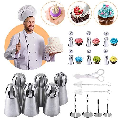 Aowex Russian Piping Tips Set Cake Decorating Kit Baking Supplies Cake Decorations Russian Piping Nozzles DIY Baking Tools for Making Fondant Cake Pastry Cupcake (13Pcs)