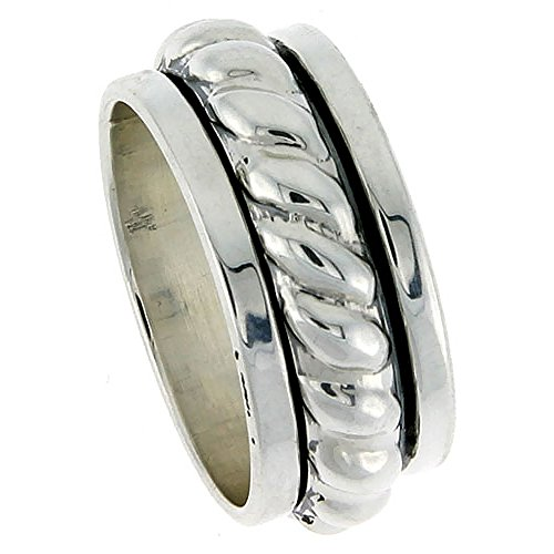 Rope Spinner Ring - Sterling Silver Mens Spinner Ring Thick Rope Center Handmade 7/16 Wide size 11
