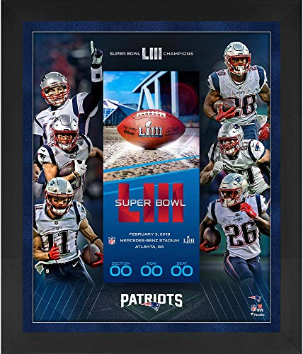 "New England Patriots Framed 23"" x 27"" Super Bowl LIII Champions Floating Ticket Collage - NFL Team Plaques and Collages from Sports Memorabilia"