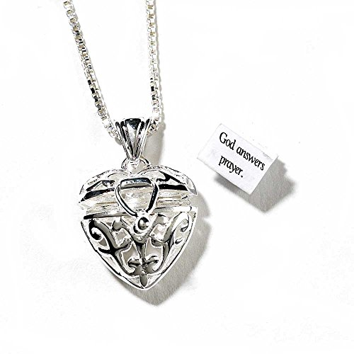 Three Person Group Costume Ideas (Scroll Heart Prayer Box Women's Silver-Plated 24 Inch Chain Pendant Necklace)