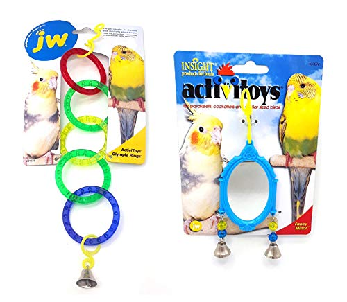 JW Pet Company Bird Toy Assortment Includes Olympic Rings and Fancy Mirror Bundle for Parakeets, Cockatiels and Similar Sized Birds