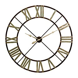 IMAX 27635 Jasper Wall Clock - 48 in. Iron, Bronze, Analogue Clock with Roman Numerals, Distressed Vintage Theme. Home Decor Accessories