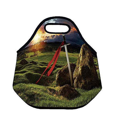 Camelot Throw - King Practical Neoprene Lunch Bag,Arthur Camelot Legend Myth in England Ireland Fields Invincible Sword Image for School Trip Work,Throw(11.8''L x 6.3''W x 11''H)