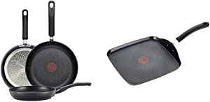 T-fal Nonstick Thermo-Spot Heat Indicator Fry Pan Cookware Set, 3-Piece, 8-Inch 10.5-Inch and 12.5-Inch, Black & Ultimate Hard Anodized, Nonstick 10.25 In. Square Griddle, Black, , 10.25 Inch, Grey