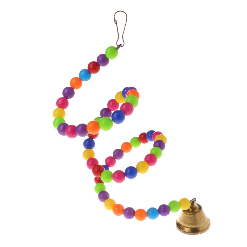 Parrot Toys Spiral Swing Stand Holder Birds Creative Bell Colorful Beads Ladder Premium Quality by Yevison