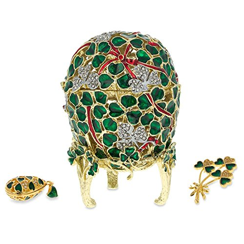 BestPysanky 1902 Clover Leaf Royal Russian Egg with Brooch and Pendant