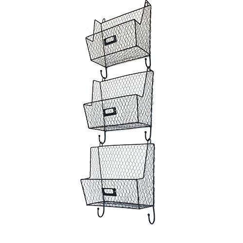 Crazyworldstore 3 Tiers Hanging Wall File Organizer Key Letter Holder Wall Mount Wire Rack Hanger Organizer Storage Black (6#)