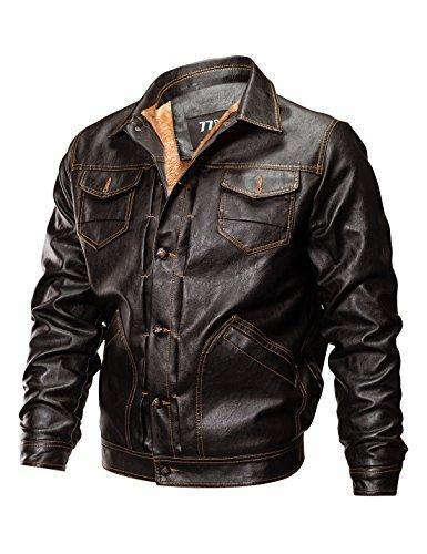 Biker Sleeve Men's PU Brown Fleeced Down Long Lapel Leather Yeokou Collar Jacket zR1AqqW