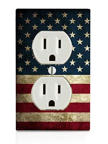 American Flag Design Pattern Print Electrical Outlet Plate