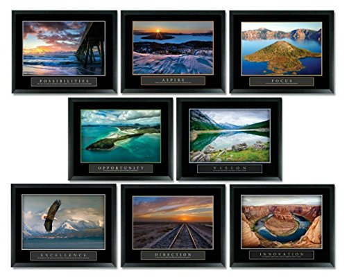 8 Framed Ocean Water Sunset Motivational Posters Complete Office Decor Collection 22x28