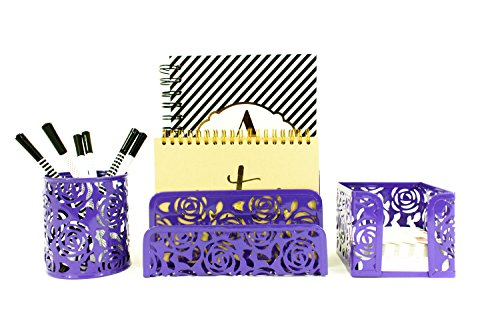 Carved Floral Pattern Office Supplies Desk Organizer – Purple – 3 Piece Metal Set – Fun, Stylish Floral Cutout Design – Stores Letters, Paperwork, Pens, Pencils, and Sticky Notes