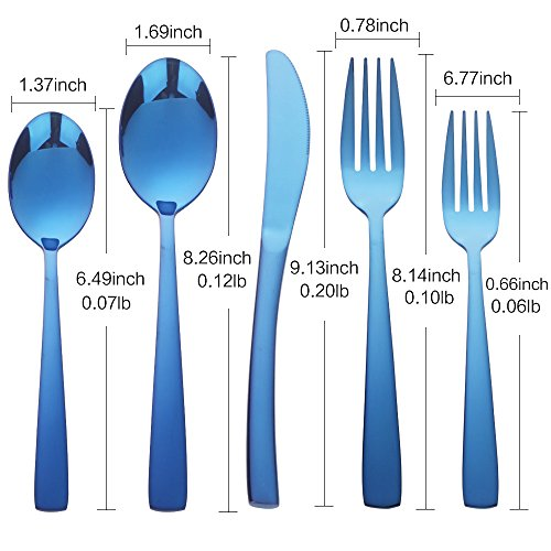 Blue silverware set