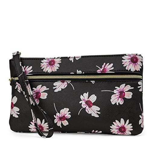 Mundi Back Up Buddy Womens Wallet Wristlet With Portable Charger (Dark Floral)