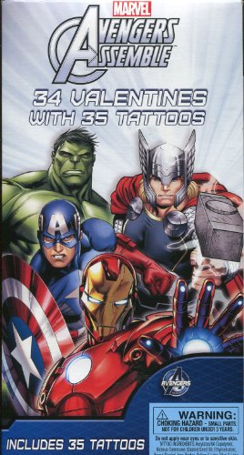 Marvel Avengers Assemble 34 Valentines with 35 Tattoos by Paper Magic