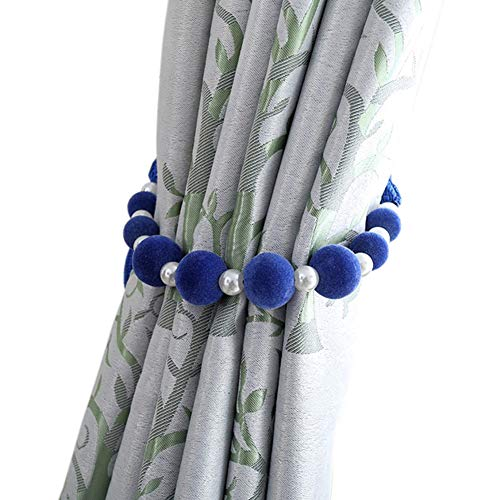 - Aowufan 2Pcs Pastoral Style Hand-Woven Beaded Curtains Buckle Tiebacks Beaded Curtain Rope (Royal Blue)