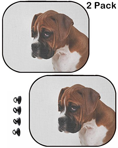 Boxers Puppies (MSD Car Sun Shade Protector Block Damaging UV Rays Sunlight Heat for All Vehicles, 2 Pack Image ID: 8109449 Male Boxer Puppy)