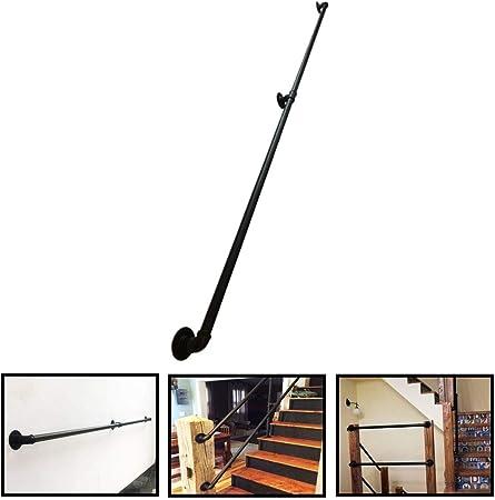 LAMXF Pasamanos de escaleras para Interiores y Exteriores - Kit Completo. Barandilla de Escalera de diseño de tubería de Agua de Hierro Barandilla de Apoyo ferroviario, Negro, Soporta 250kg.: Amazon.es: Hogar