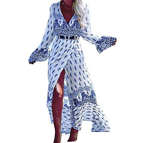 Femme l'été Robe Longue Juleya Boho V Neck Beach Cover-up à manches longues Dress imprimé Floral bandage ajustable Maxi Robe de Plage Sarongs M XXXL