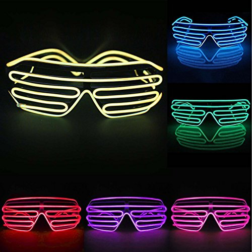 2016 fashion Cool LED EL Wire Glasses Light Up Louvered Shutter Slotted Sunglasses for Raves Party - Sunglasses Louvered