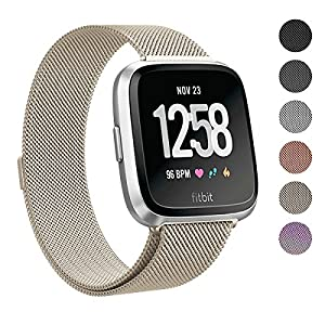 Swees for Fitbit Versa Bands for Women Men Small & Large, Milanese Stainless Steel Metal Magnetic Replacement Band for Fitbit Versa Smart Watch, Black, Champagne, Colorful, Rose Gold, Silver, Grey