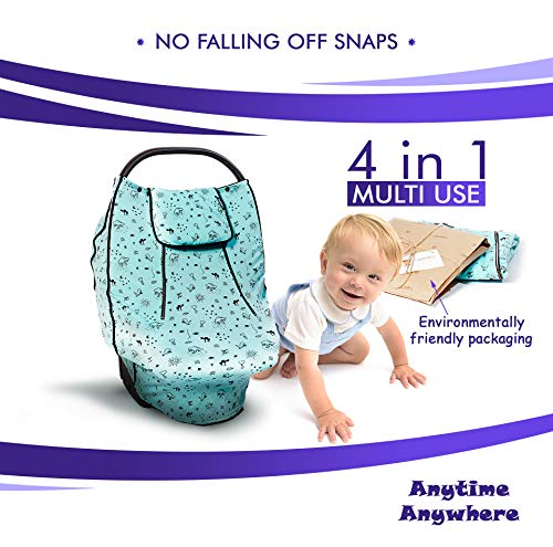 Baby Car Seat Canopy and Nursing Cover for Boys, Girls   Infant Multi-Use Soft and Stretchy Fabric Easily Covers Carseat, High Chair, Shopping Cart, Stroller   Breastfeeding for Babies   Mosquito Net