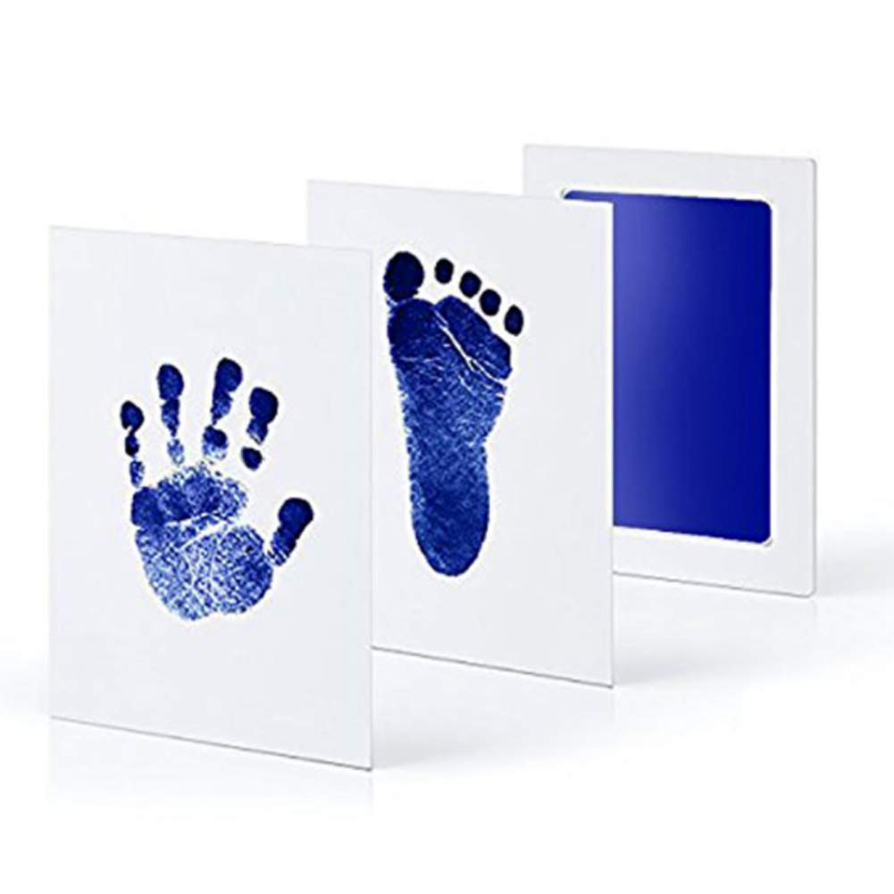 YaptheS Baby footprint handprint ink pad no dirty messy ink pad newborn baby girl/baby boy shower gift baby safe non-toxic ink pad (blue)