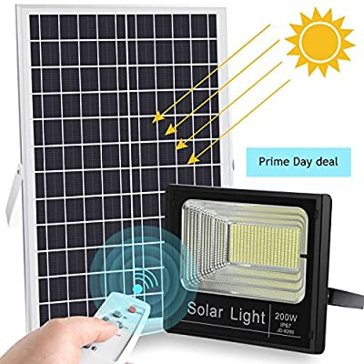 200W LED Solar Flood Light 400LED Dusk to Dawn Solar Powered Street Light Outdoor Waterproof IP67 with Remote Control Security Lighting for Yard, Garden, Gutter, Swimming Pool, Pathway, Basketball