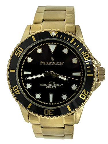 - Peugeot Men's Sports Watch with Rotating Bezel Pro Dive, Black Dial & Stainless Steel Gold Plated Bracelet