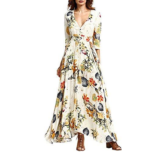 Womens Summer Bohemian Print V Neck Button Half Sleeve Empire Waist Split Maxi Dress (S, Yellow) ()