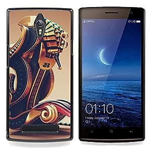 - Pharaoh Gold Bling Design Black - - Snap-On Rugged Hard Cover Case Funny HouseFOR Oppo Find 7 X9007