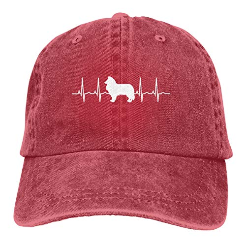 Men Women Vintage Denim Fabric Baseball Cap Border Collie Dog Heartbeat Hiphop Cap Red ()