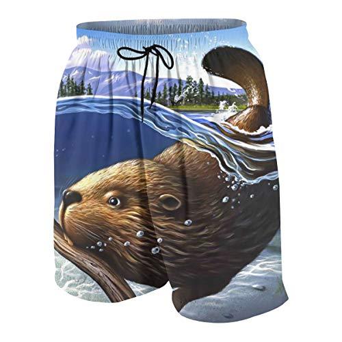 Kidhome Teenagers Boys Beach Board Shorts Busy Beaver Summer Drawstring Beach Shorts Swim Trunks with Pockets for Teen Boys XL(18-20) -