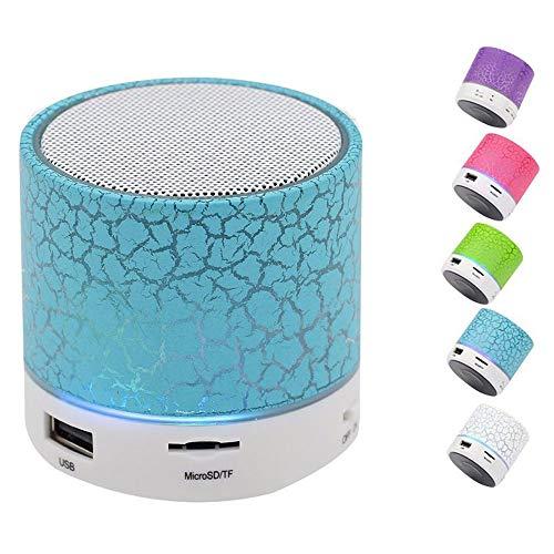 Bluetooth スピーカー、カラフルな LED ライトクラックパターン小型ワイヤレス bluetooth スピーカー、USB/TF/FM/AUX 機能付きポータブル bluetooth ステレオスピーカー Blue