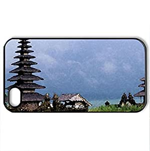 Bali Temples - Case Cover for iPhone 4 and 4s (Religious Series, Watercolor style, Black)