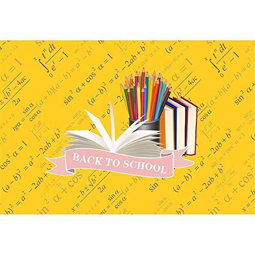 (DORCEV 10x8ft Back to School Photography Backdrop Back to School Party Homecoming Student Party Background Colorful Pencil Book Formula Welcome Theme Party Banner Student Photo Studio Props )