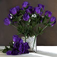 Efavormart 84 Artificial Buds Roses Wedding Flowers Bouquets SALE - Purple