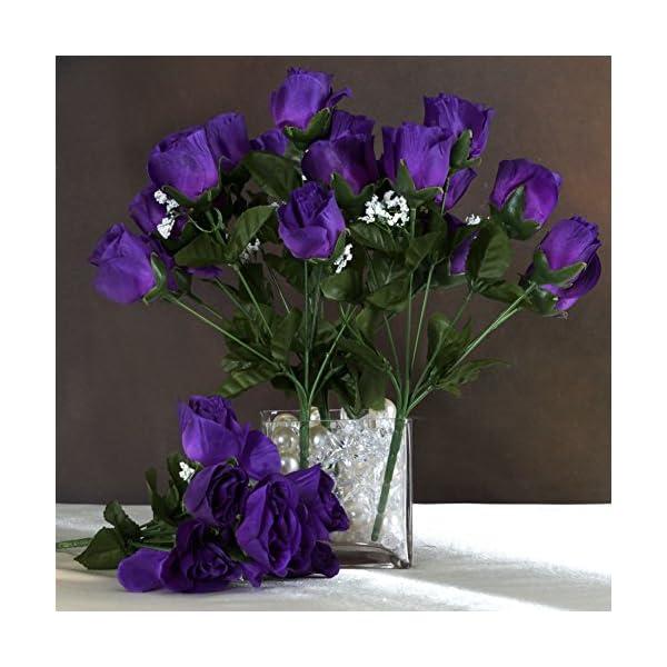 BalsaCircle 252 Purple Silk Rose Buds – 36 Bushes – Artificial Flowers Wedding Party Centerpieces Arrangements Bouquets Supplies