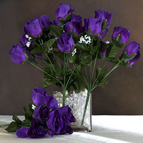Purple Roses Wedding (Efavormart 84 Artificial Buds Roses Wedding Flowers Bouquets SALE - Purple)