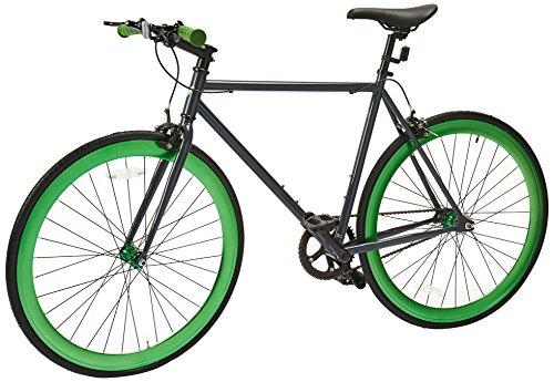 Vilano Rampage Fixed Gear Fixie Single Speed Road Bike, Grey/Green, - Single Fixed Gear Speed