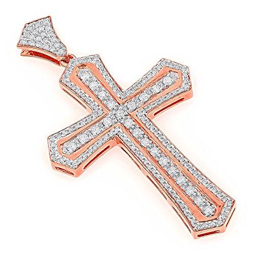 Luxurman 14K Designer Unique Natural Diamond Cross Pendant for Men (Rose Gold)