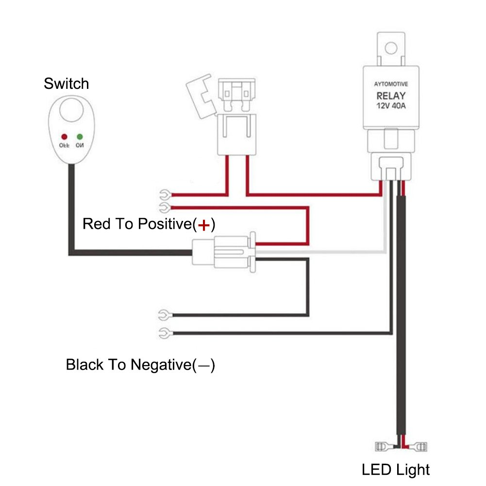 Gzq Wiring Harness Led Light Relay Loom Kit Fuse 24v 40a Switch On Off For Connecting Truck Car Driving Bar Spot Fog 12v