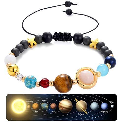 CULOVITY Handmade Universe Guardian Bracelets Nine Planets Star Natural Stone Adjustable Astronomy Stretch Bracelet for Women Men Gift ()