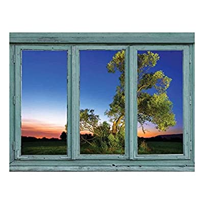 A Single Tree is Highlighted in a Field just After Sunset - Wall Mural, Removable Sticker, Home Decor - 36x48 inches