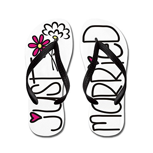 (CafePress - Just Married - - Flip Flops, Funny Thong Sandals, Beach Sandals Black)