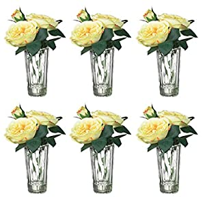 "Sullivans Set of 6 Artificial Yellow Rose Vases for Wedding Decor 7.5"" 93"